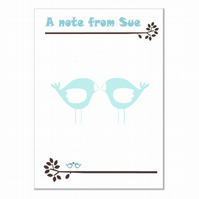 n011 Blue Love Birds Writing Paper, personalised, pk 14 with envelopes