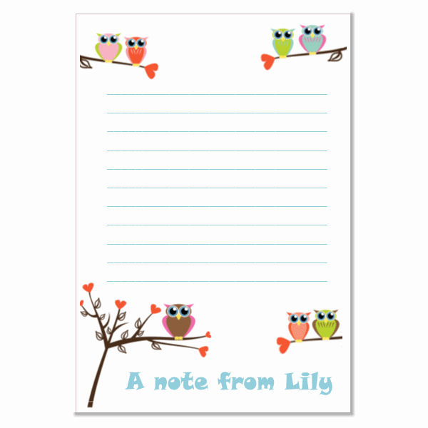 n006 Owl Writing Paper, personalised, pk 14 with envelopes A5