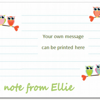nc003 Personalised Owl Notecards, pk 10 with envelopes, writing paper, gift