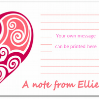 nc004 Personalised Heart Notecards, pk 10 with envelopes, writing paper, love