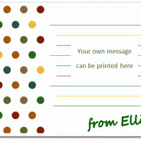 nc005 Personalised Polka Dot Notecards, pk 10 with envelopes, writing paper