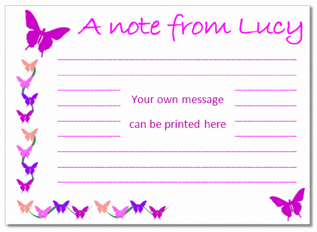 nc007 Personalised Butterfly Notecards, pk 10 with envelopes, writing paper