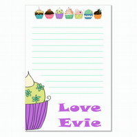 n012 Cupcake Writing Paper, personalised, pk 14 with envelopes A5
