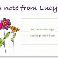 nc001  Personalised Flower Notecards, pk 10 with envelopes, Lovely Gift, size A6