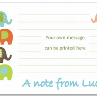 nc002  Personalised Elephant Notecards, pk 10 with envelopes, writing paper