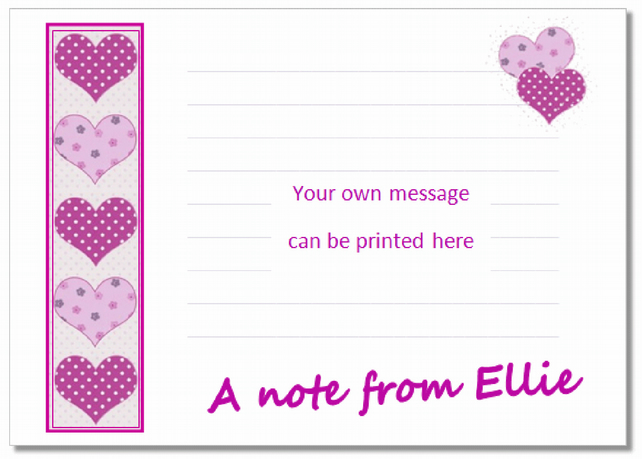 nc008 Personalised Hearts Notecards, pk 10 with envelopes, writing paper