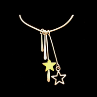 jnx045 Christmas Jewellery - Xmas Star Pendant Necklace, silver gift present