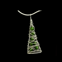 jnx009 Christmas Jewellery - Xmas Tree Pendant Necklace, silver unique gift