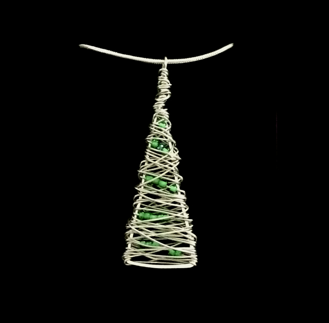 jnx005 Christmas Jewellery - Xmas Tree Pendant Necklace, silver Locketmaid gift