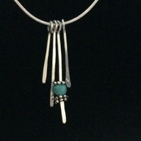 "jcn001 Turquoise Pendant NECKLACE, Hammered aluminium on 18"" silver snake chain"