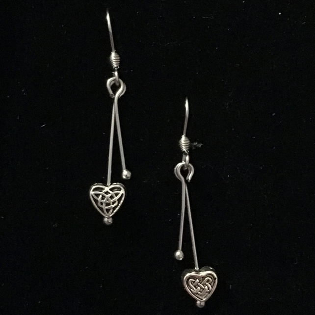 je1319 Heart Earrings,  celtic design, silver valentines gift present, boxed