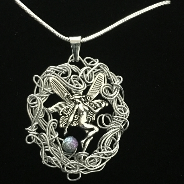 Jn1255 Fairy Necklace, wirework, fairies pendant, silver snake chain