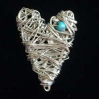 jcp001 HEART BROOCH pin, Unique wirework jewellery, birthday present gift