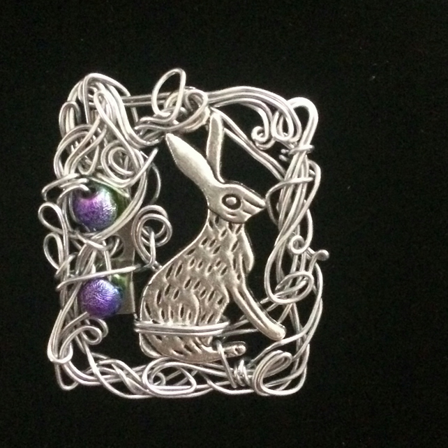 jcp004 Hare BROOCH pin, unusual unique wirework jewellery, rabbit present gift