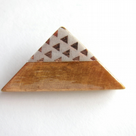 Triangle brooch in copper wood