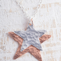 Sterling Silver and Copper Hammered Star Duo Necklace stars