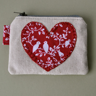 Red Love Doves Coin Purse