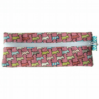 Pink Scottie Dogs Pencil Case - Stocking Filler, Novelty Pencil Case