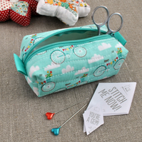 SALE - Make-Up Bag in Blue Bikes - Cosmetic Pouch, Gifts for Cyclists
