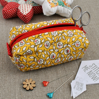 Yellow Floral Make-Up Bag - Sewing Pouch, Secret Santa
