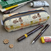 SALE - Box Pencil Case in Red & Brown Bikes - Make-up Pouch, Gifts for Cyclists