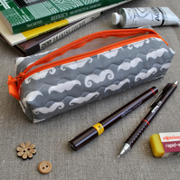 SALE - Box Pencil Case in Grey Moustaches - Make-up Case, Gifts for Her