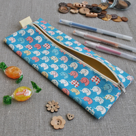Novelty Pencil Case in Blue Elephants - Back to School, Stocking Filler