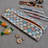 Novelty Pencil Case in Green Elephants - Back to School, Stocking Filler