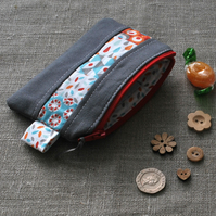 Patchwork Purse in Grey, Turquoise and Orange - Zip Pouch, Stocking Filler