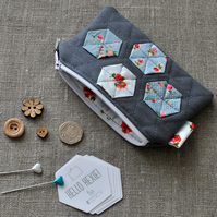 Quilted Hexagon Purse in Grey and Vintage Blues - Zip Pouch, Stocking Filler