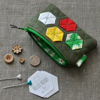 Quilted Hexagon Purse in Green & Yellow - Zip Pouch, Stocking Filler