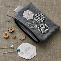 Quilted Hexagon Purse in Grey, Black & White - Zip Pouch, Stocking Filler