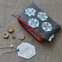 Quilted Hexagon Purse in Turquoise & Grey - Zip Pouch, Stocking Filler