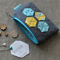 Quilted Hexagon Purse in Grey, Turquoise & Yellow - Zip Pouch, Stocking Filler