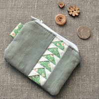 Green & Grey Coin Purse - Zip Pouch, Stocking Filler