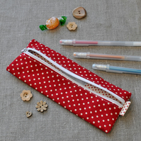 SALE - Small Red Dotty Pencil Case - Back to School, Party Gift