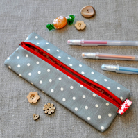 SALE - Small Grey Dotty Pencil Case - Party Gift, Back to School
