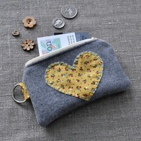 Appliqued Heart Purse in Vintage Yellow - Coin Purse, Handmade Purse