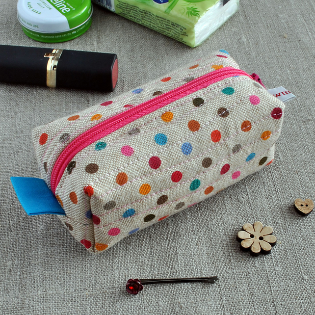 SALE - Small Cosmetic Box Pouch in Polka Dots - Make-up Pouch, Sewing Notion Bag