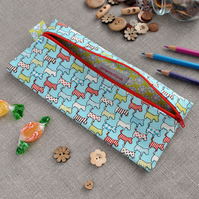 Large Novelty Pencil Case in Blue Scottie Dogs - Back to School, Party Gift