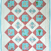 Teddy Bear's Picnic Baby Quilt Kit - Riley Blake, Crib Quilt, Craft Kit