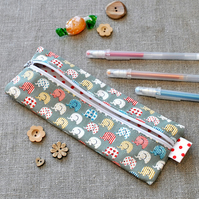 SALE - Small Novelty Pencil Case in Green Elephants - Back to School, Party Gift