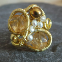 Citrene & Pearl Wire Weave Ring, Size P-Q
