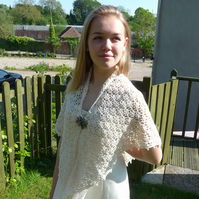 Beautiful Handmade Alpaca White Beige Wedding Summer Crochet Shawl