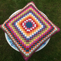 Handmade crochet multicoloured granny square cushion pillow