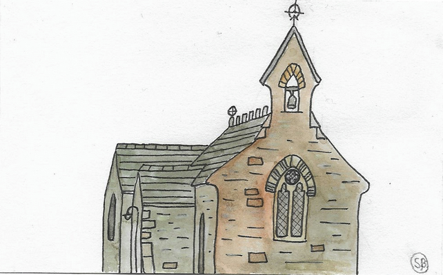 Original Painting: St Catherine's Church at Granston, Pembrokeshire, Wales