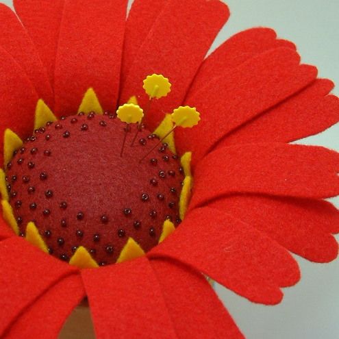 Beaded Red Painted Daisy Pincushion