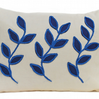 Cream linen cushion with blue leaf design