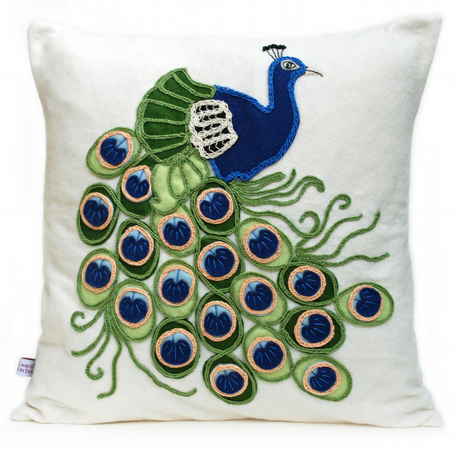 Peacock design wool felt cushion