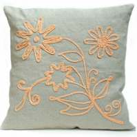 Floral design linen cushion
